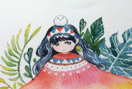 水彩插畫縮時錄影-民族風女孩