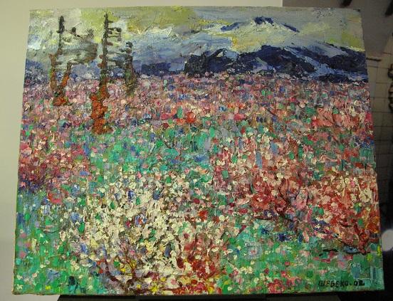 俄式麗-盛開的茶花叢