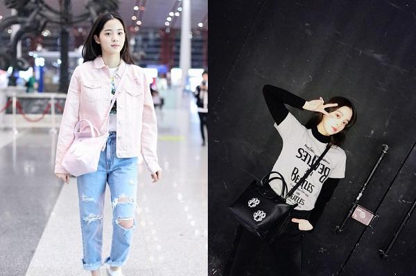 歐陽娜娜一清新甜美現身機場,搭配Longchamp Le Pliage® Cuir系列 狗年限定蠟筆