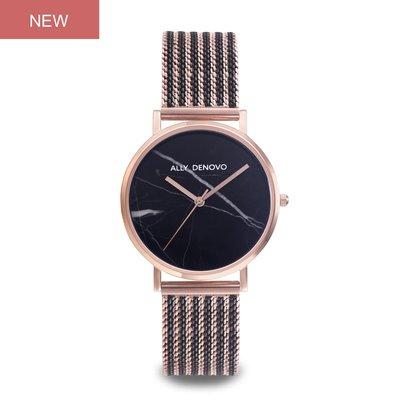 【新上市!女款36mm】Carrara Marble金屬鍊帶腕錶-黑大理石玫瑰金框雙色不鏽鋼錶帶