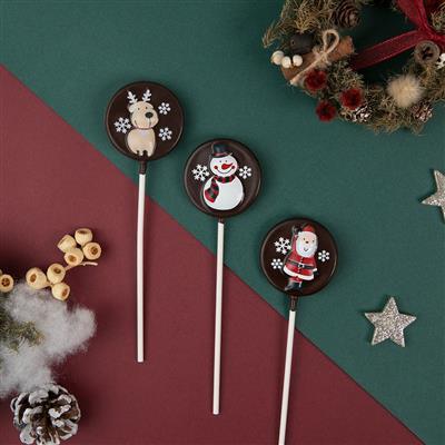【創意巧克力】造型巧克力|微笑聖誕巧克力棒棒糖❋買五送一❋隨機出貨